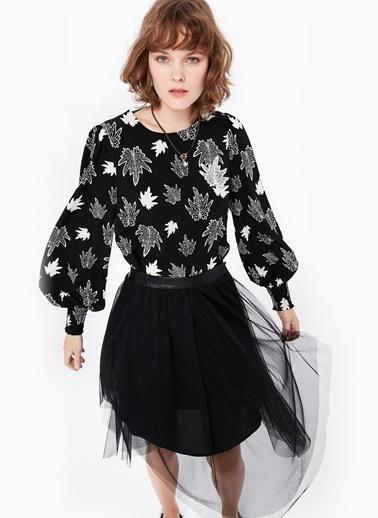 Desenli Lastik Kol Elbise-Twist